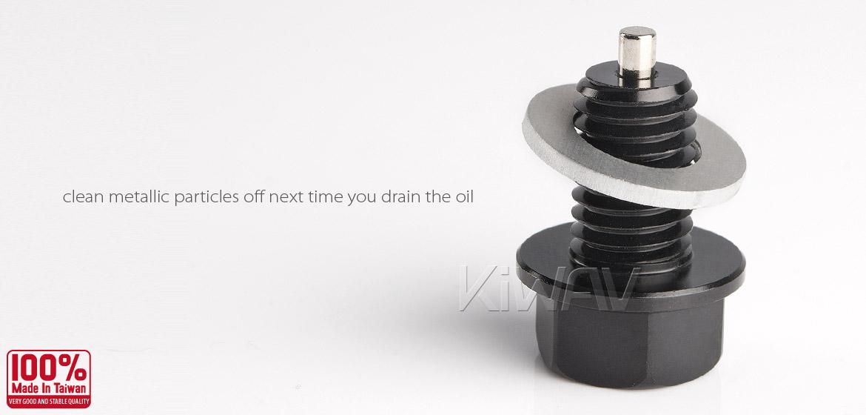 Magazi anodized black aluminum magnetic oil drain bolt plug M10 x P1.25 for road bike Yamaha-04