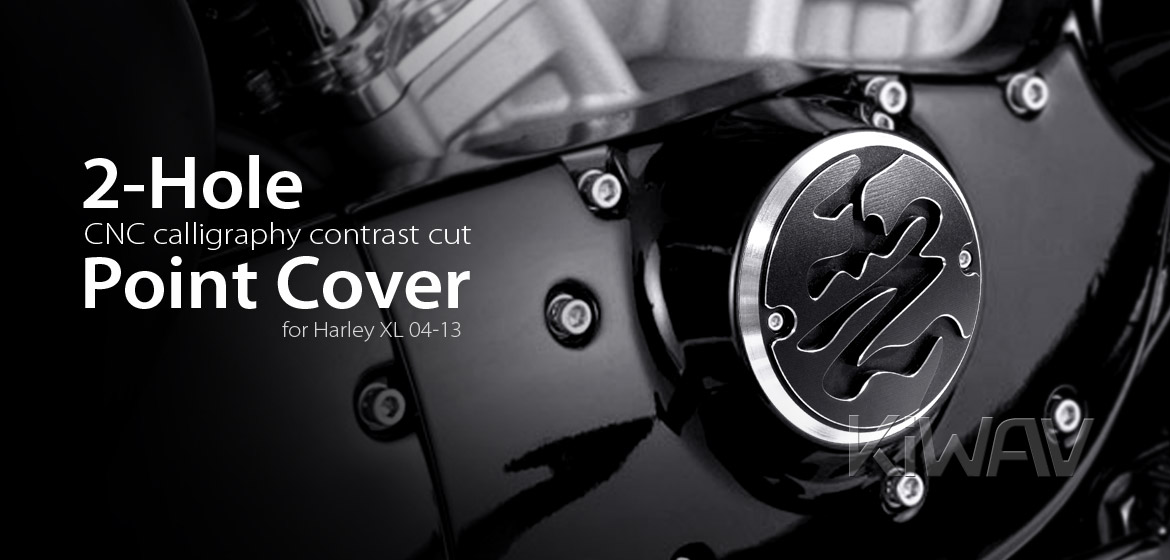 VAWiK CNC Calligraphy contrast cut 2 hole point cover for Harley XL 04-13