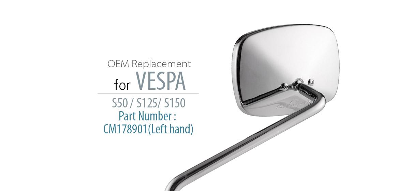 KiWAV OEM replacement mirror FA265 for PIAGGIO Vespa S 50 125 150 left hand