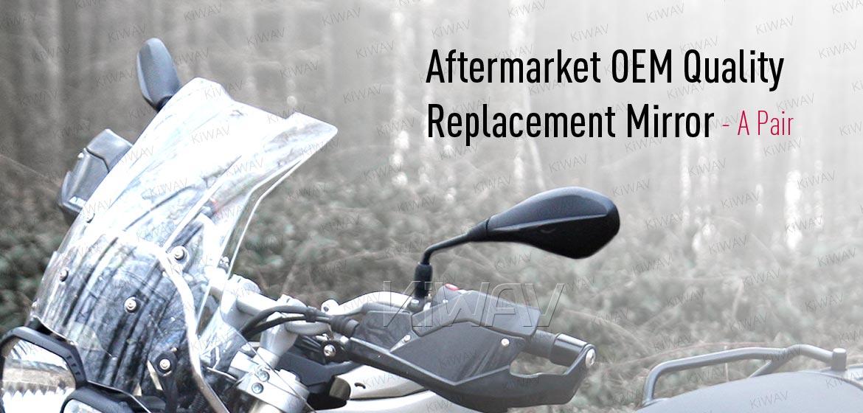 KiWAV OEM quality replacement mirror FB-277-5 for BMW R1200GS black