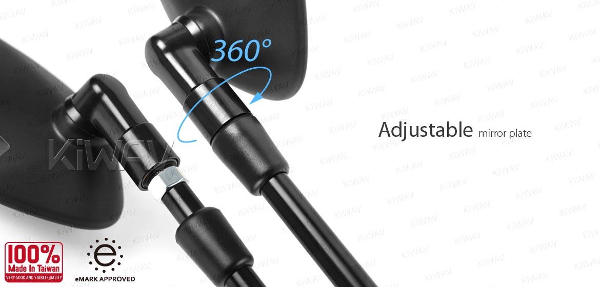 KiWAV ATV rear view mirrors black for 7/8 inch handlebar mount with black aluminum clips