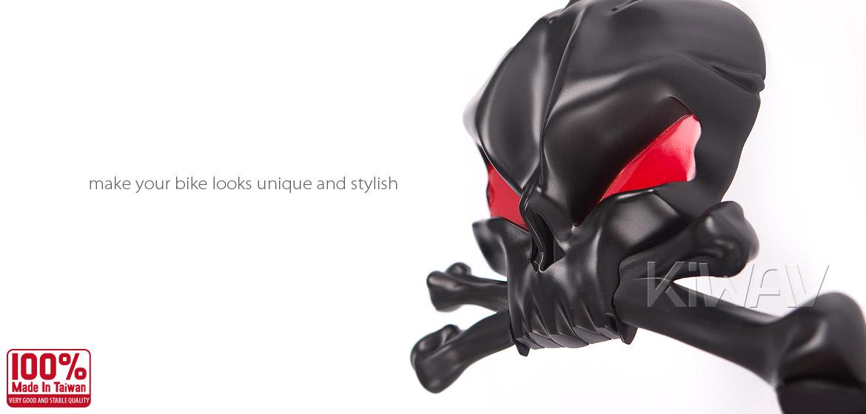 KiWAV Motorcycle Mirrors Black Skull Red Eye