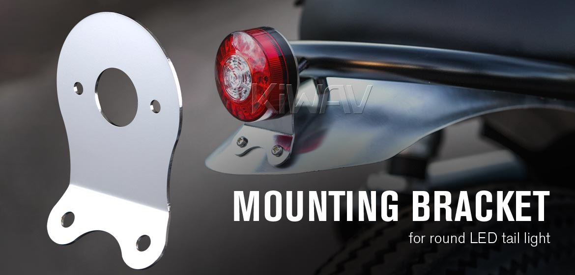 KiWAV Tail Light Mounting Bracket compatible with Round LED Tail Light Silver with 2 Hex Nuts /& Caps