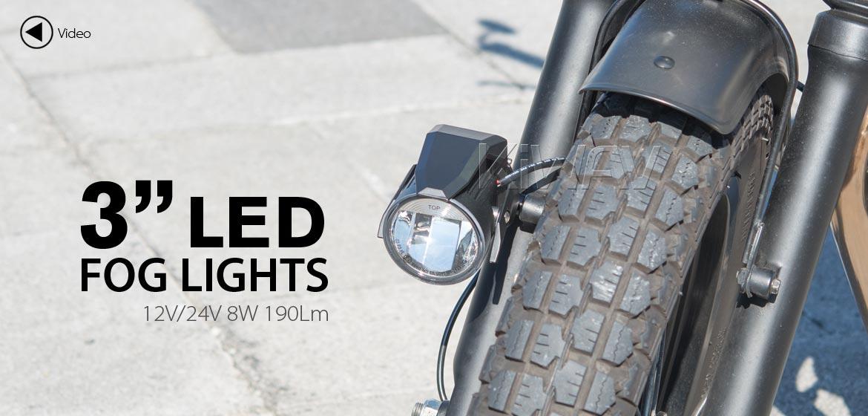 KiWAV motorcycle 12V 24V 3 inches 8W round LED fog light