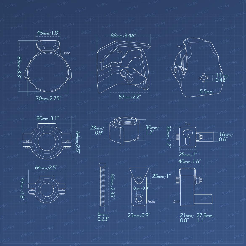 Measurement of KiWAV motorcycle 2.75 inch 12V 55W round driving light