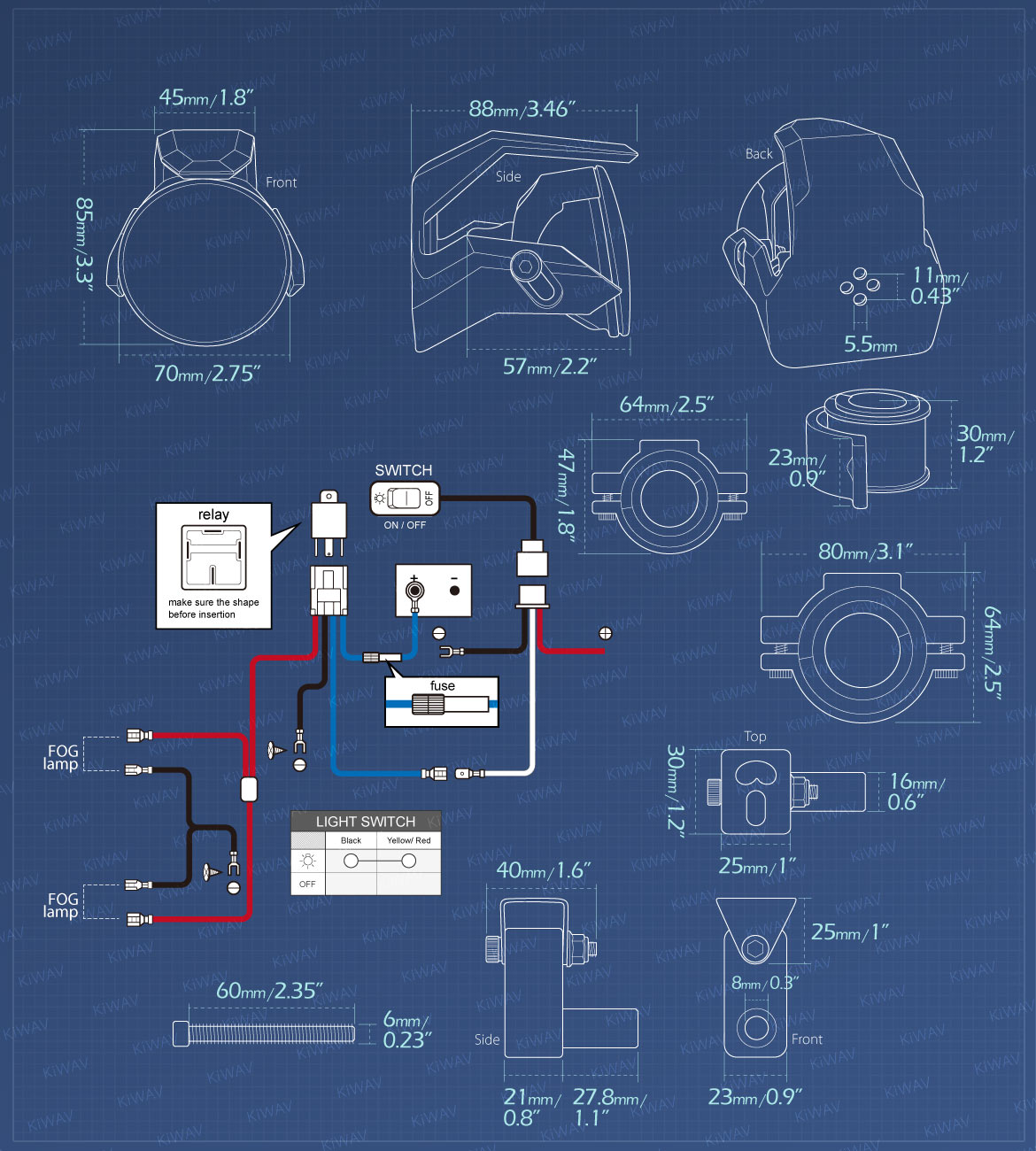 Measurement of KiWAV motorcycle 2.75 inch 12V 55W round driving light with wiring kits