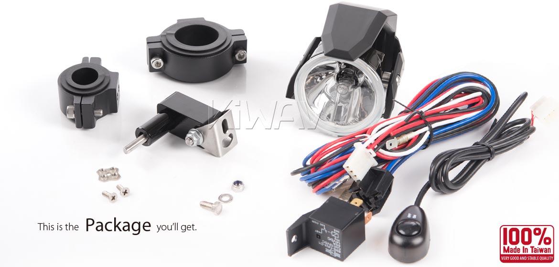KiWAV motorcycle 2.75 inch 12V 55W round driving light black with wiring kits