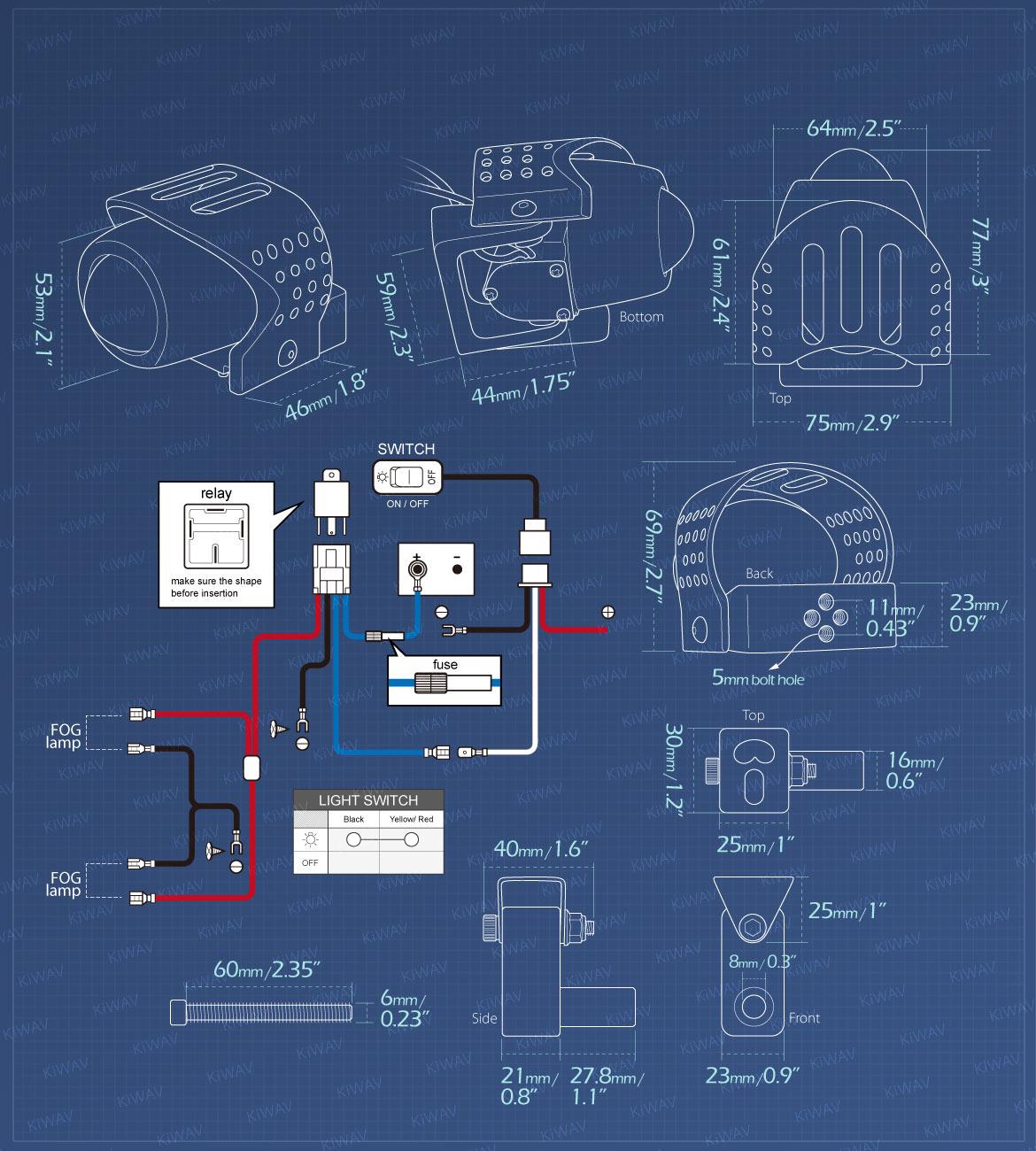 Measurement of KiWAV motorcycle 12V 55W fisheye round fog light with wiring kits