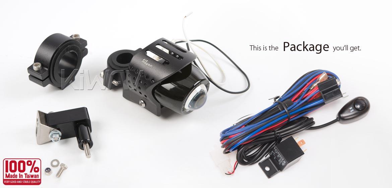 KiWAV motorcycle 12V 55W fisheye round fog light with wiring kits