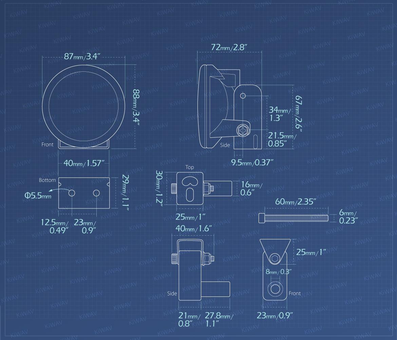 Measurement of KiWAV motorcycle 3.4 inches 12V 55W round fog lights