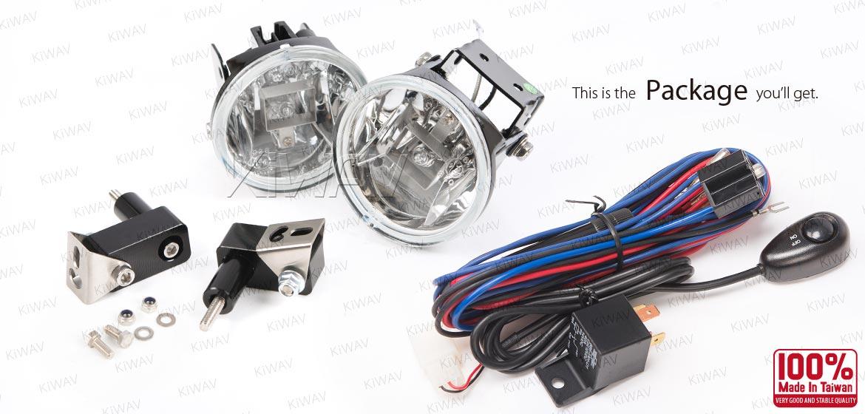 KiWAV motorcycle 3.4 inches 12V 55W round fog lights with wiring kits