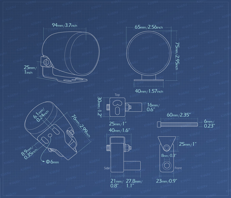 Measurement of KiWAV motorcycle 2.5 inch 12V 55W round fog lights