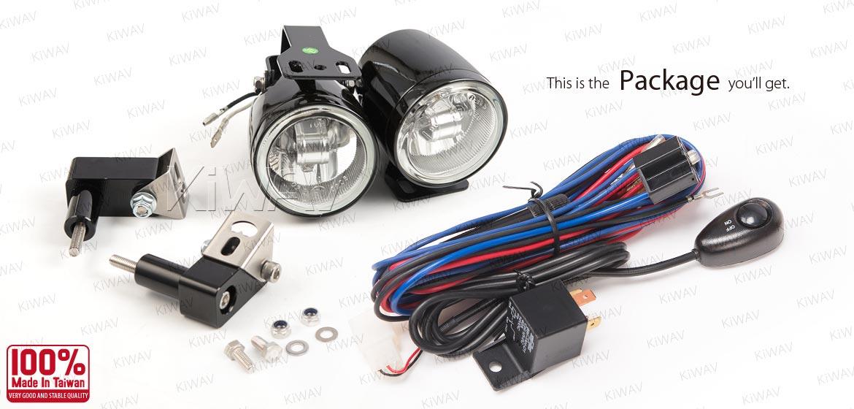 KiWAV motorcycle 2.5 inch 12V 55W round fog lights with wiring kits