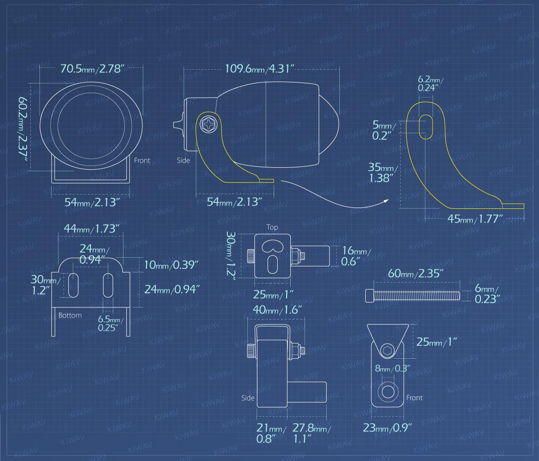 Measurement of KiWAV motorcycle 1.9 inches 12V 55W fisheye fog fog lights