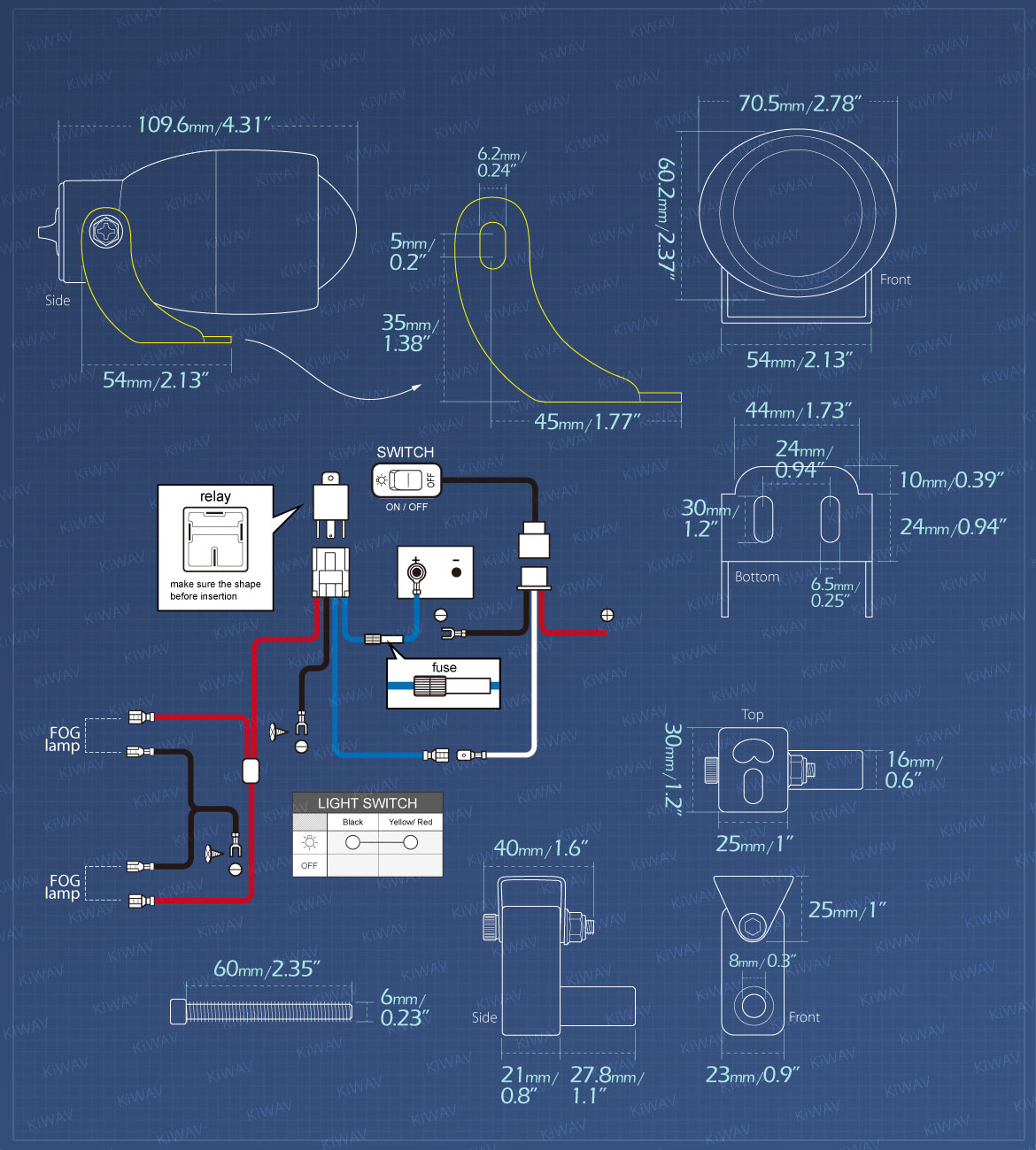 Measurement of KiWAV motorcycle 1.9 inches 12V 55W round fisheye fog lights with wiring kits