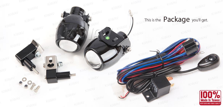 KiWAV motorcycle 1.9 inches 12V 55W round fisheye fog lights with wiring kits