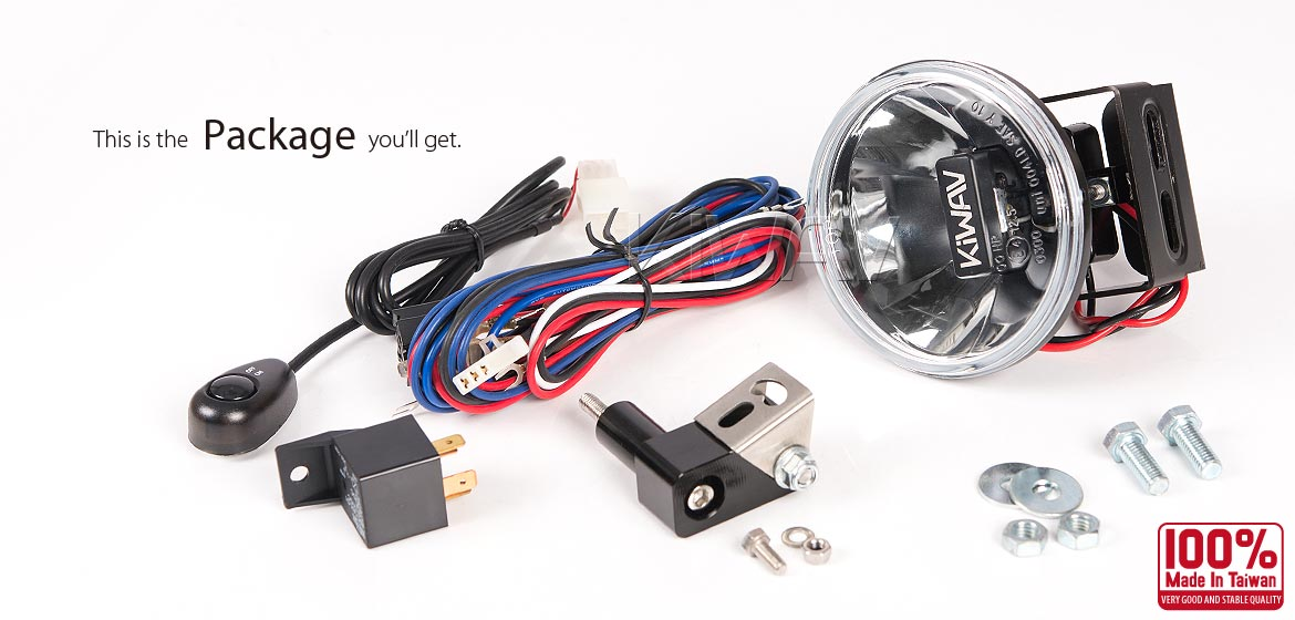 KiWAV motorcycle magnesium round 4 inch 12W LED driving light with wiring kits