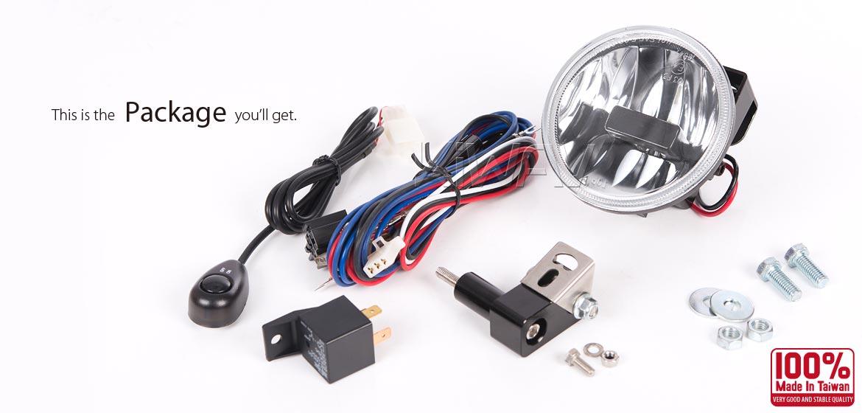 KiWAV motorcycle magnesium round 4 inch 9W LED fog light with wiring kits