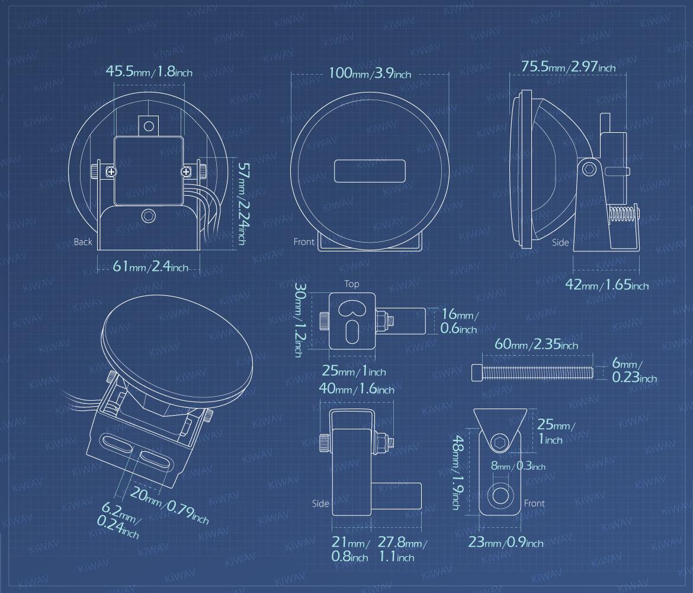 Measurement of KiWAV motorcycle magnesium round 4 inch LED light