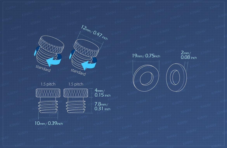 Measurement of KiWAV motorcycle mirror hole block-offs for BMW