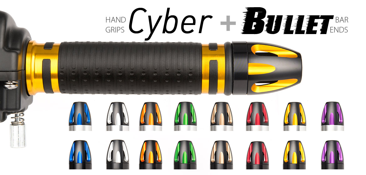 KiWAV Magazi motorcycle Cyber grips gold with bullet bar ends