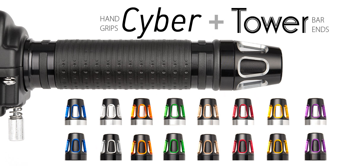 KiWAV Magazi motorcycle Cyber grips black with Tower bar ends
