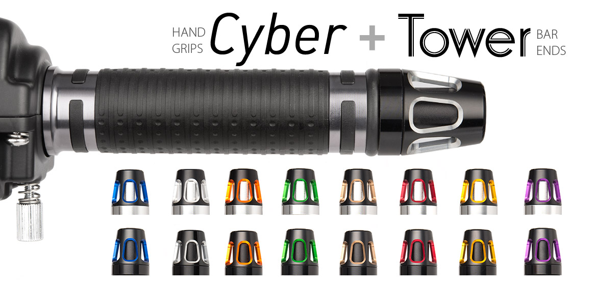 KiWAV Magazi motorcycle Cyber grips grey with Tower bar ends