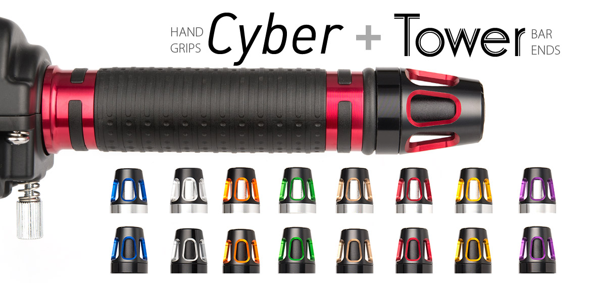 KiWAV Magazi motorcycle Cyber grips red with Tower bar ends