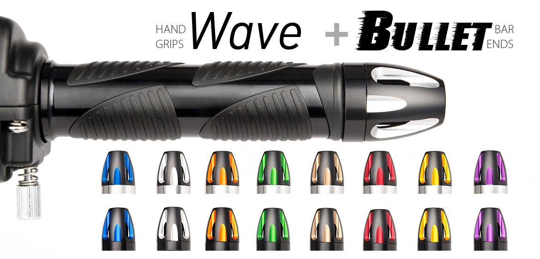 KiWAV Magazi motorcycle Wave grips black with bullet bar ends