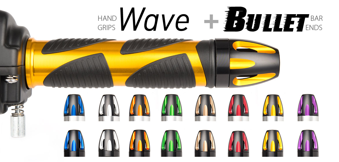 KiWAV Magazi motorcycle Wave grips gold with bullet bar ends