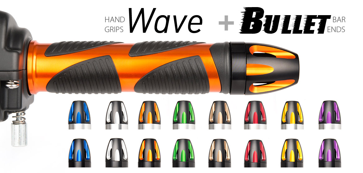 KiWAV Magazi motorcycle Wave grips orange with bullet bar ends