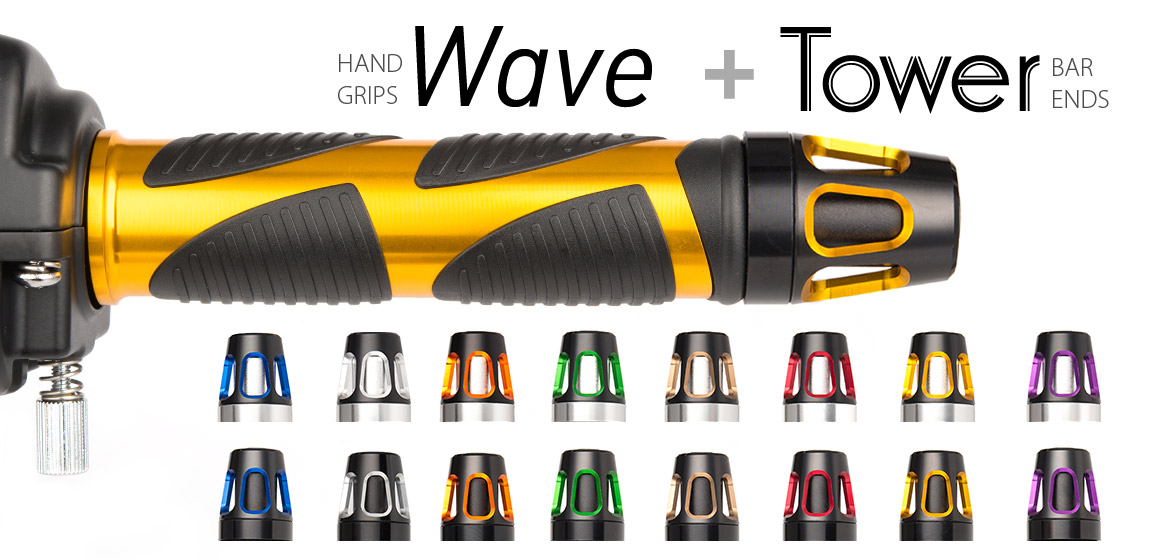 KiWAV Magazi motorcycle Wave grips gold with Tower bar ends