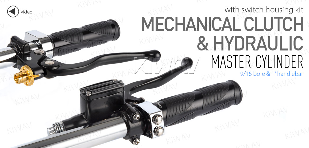 KiWAV Vintage hand control with mechanical clutch & hydraulic brake for 1 inch handlebar black w/chrome switches