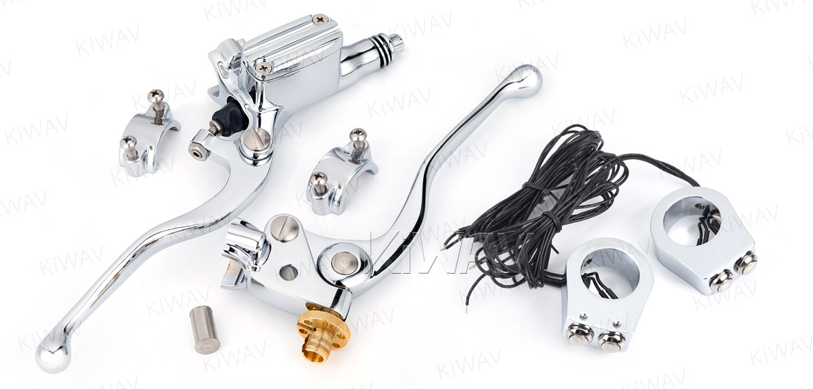 KiWAV Vintage hand control with mechanical clutch & hydraulic brake for 1 inch handlebar chrome w/chrome switches