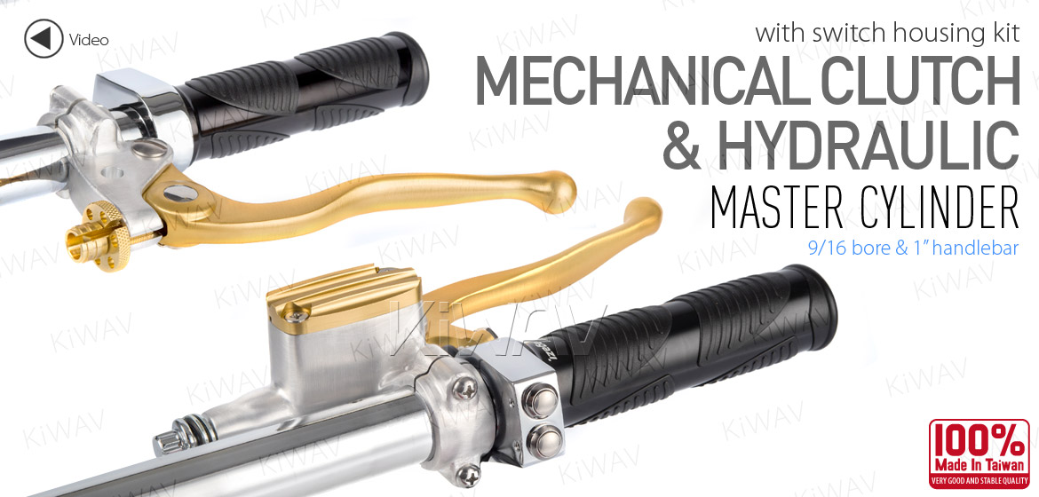 KiWAV Vintage hand control with mechanical clutch & hydraulic brake for 1 inch handlebar silver-gold w/chrome switches