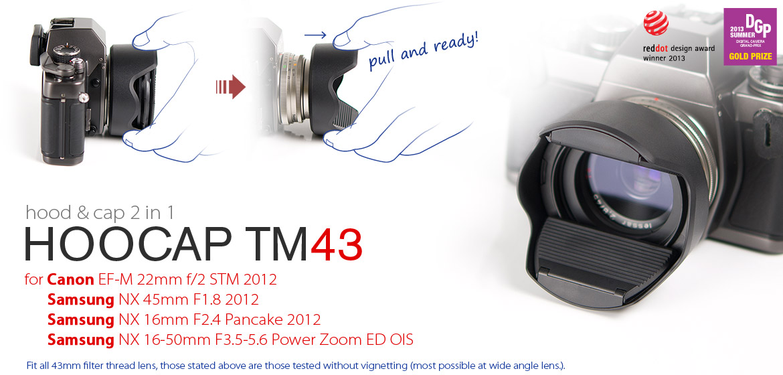 KiWAV Hoocap DSLR Lens Cap and Hood 2 in 1 TM43