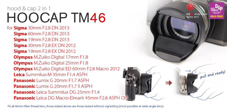 KiWAV Hoocap DSLR Lens Cap and Hood 2 in 1 TM46