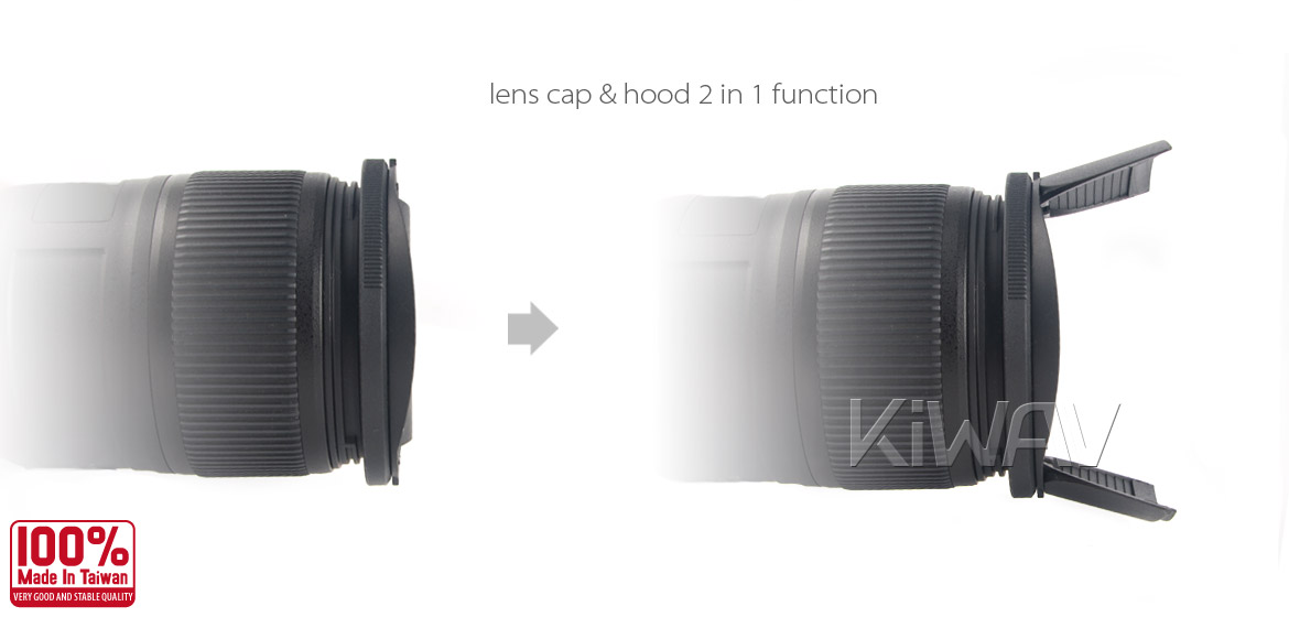 KiWAV Hoocap DSLR Lens Cap and Hood 2 in 1 TR62