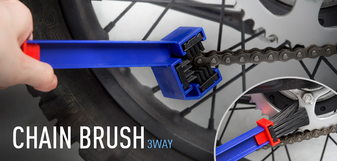 KiWAV motorcycle chain scrubber 3 way brush