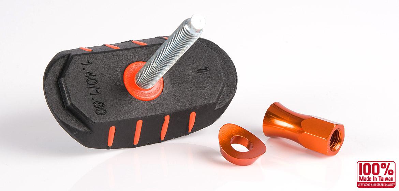 KiWAV Motorcycle Dirt Bike Rim Alloy Lock 1.4 inch and 1.6 inch with orange rim lock nut
