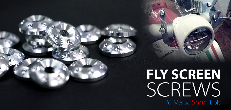 VAWiK Vespa CNC Anodizing Aluminum Alloy 6061 Fly Screen screw bolt cap plate Silver