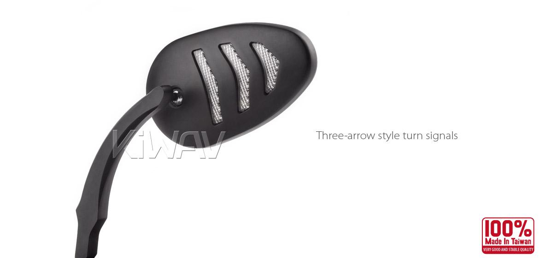 KiWAV Arrow LED black motorcycle mirrors fit harley davidson