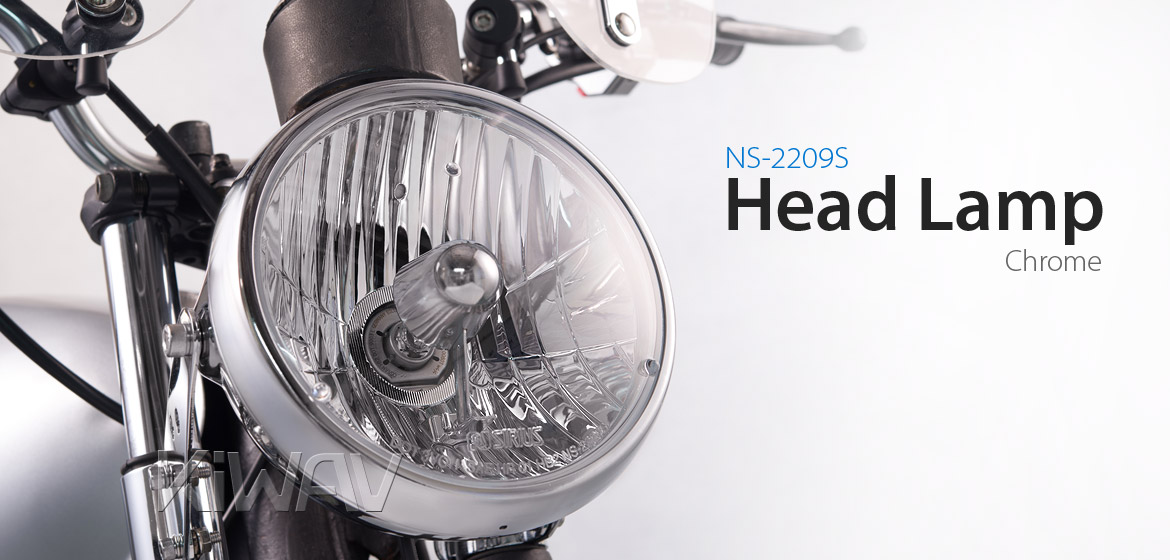 7 inch Headlamp with PC Lens NS-2209S chrome