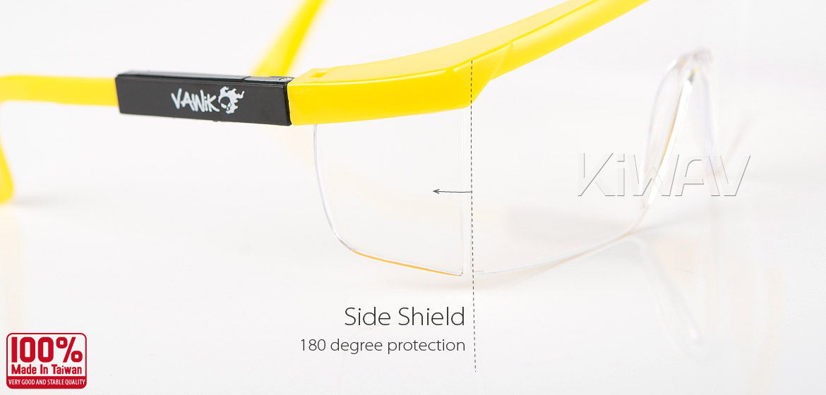 KiWAV Contemporary safety glasses VA200 yellow frame clear lens