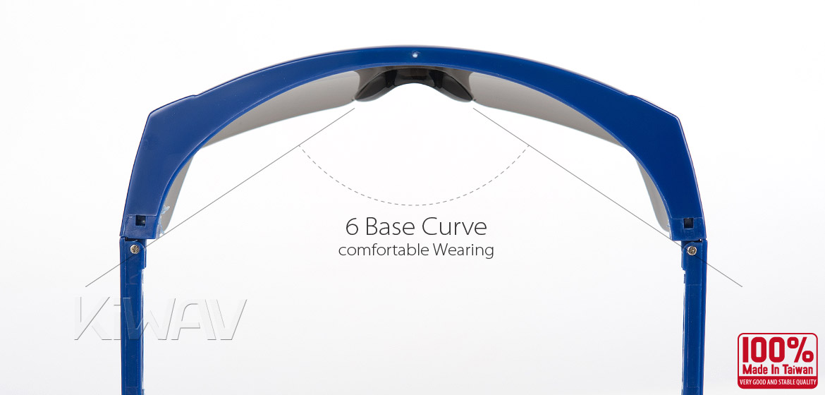 KiWAV Contemporary safety glasses VA200 blue frame smoke lens