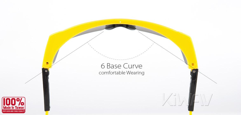 KiWAV Contemporary safety glasses VA200 yellow frame smoke lens