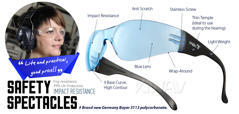 KiWAV Contemporary safety glasses VA780 black frame blue lens