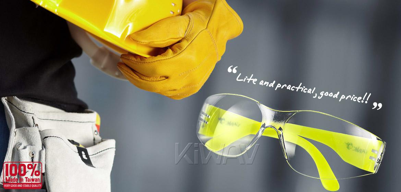 KiWAV Contemporary safety glasses VA780 neon yellow frame clear lens