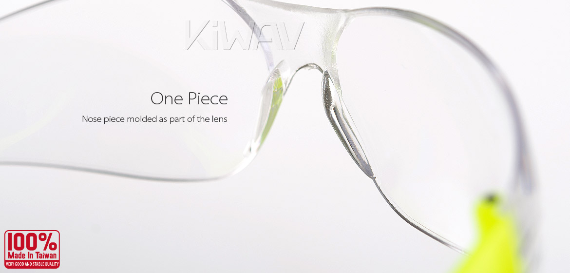 KiWAV Contemporary safety glasses VA780 neon yellow frame clear lens
