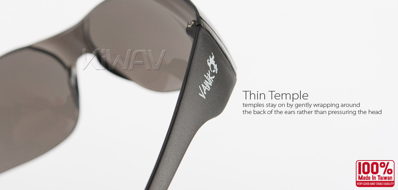 KiWAV Contemporary safety glasses VA780 black frame smoke lens